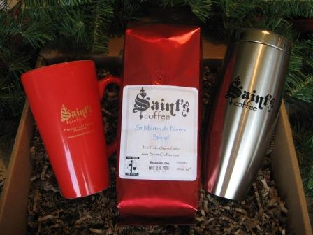 Saint's Coffee Gift Packs now available for Christmas 2009.